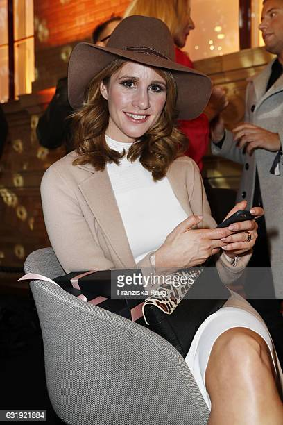 Mareile Hoeppner attends the VIP cocktail reception after the Marc Cain fashion show A/W 2017 at Deutsche Telekom representation on January 17 2017...