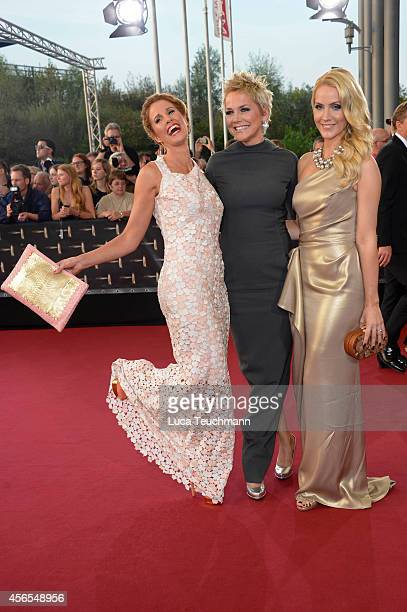 Mareile Hoeppner Inka Bause and Judith Rakers attend the red carpet of the Deutscher Fernsehpreis 2014 at Coloneum on October 2 2014 in Cologne...