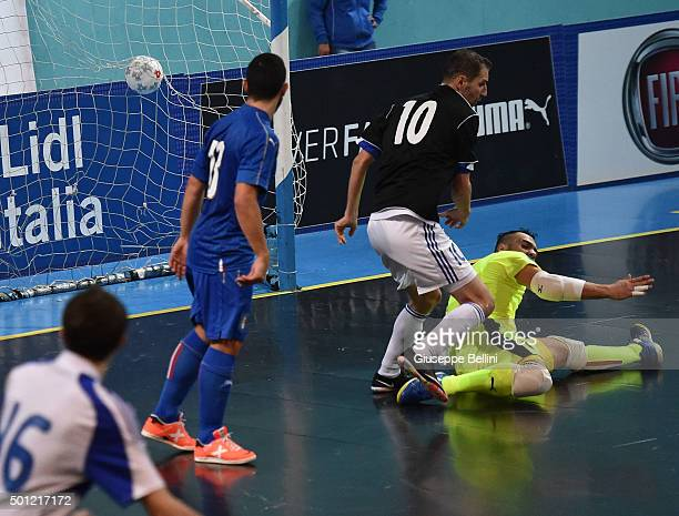 Marek Belanik of Slovakia not framed scores the goal 12 during the FIFA Futsal World Cup Qualifying match between Italy and Slovakia on December 13...
