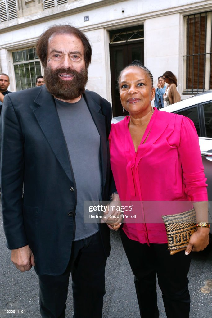 Marek Halter (L) with Minister of Justice Christiane Taubira attend Marek Halter's Rosh Hashanah celebration for the 5774 Jewish new year at his home on September 8, 2013 in Paris, France.