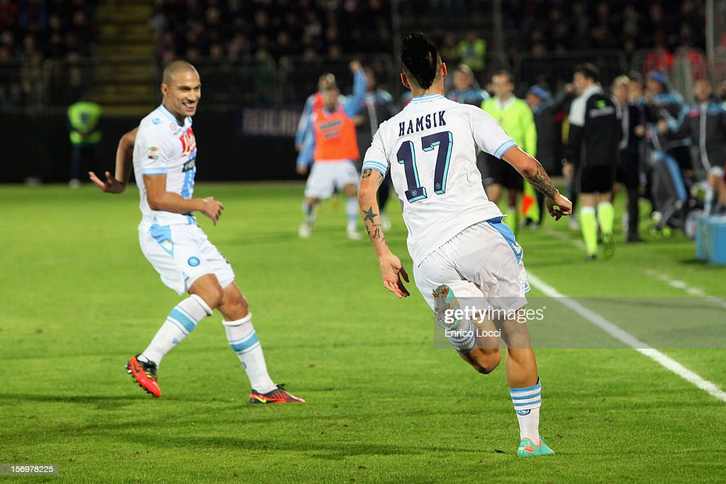 Marek Hamisk of Napoli Celebrating the goal 0-1 during the Serie A match between Cagliari Calcio and SSC Napoli at Stadio Sant'Elia on November 26, 2012 in Cagliari, Italy.