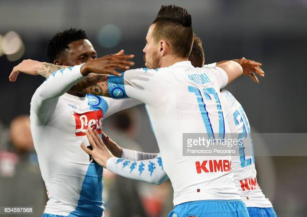 Marek Hamsik Amadou Diawara and Piotr Zielinski of SSC Napoli celebrate the 10 goal scored by Piotr Zielinski during the Serie A match between SSC...