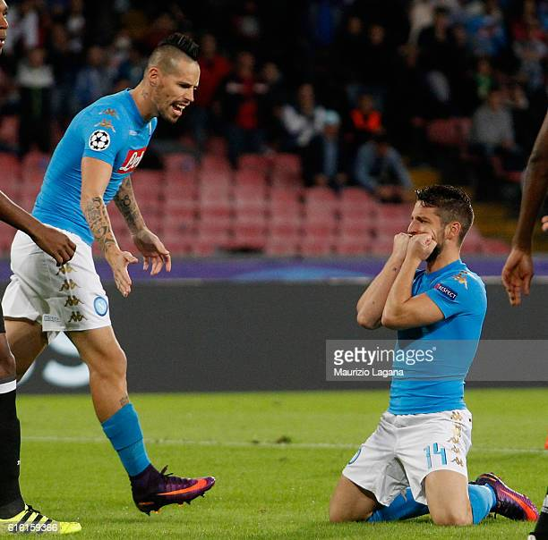 Marek Hamsik and Dries Mertens of Napoli show their dejection during the UEFA Champions League match between SSC Napoli and Besiktas JK at Stadio San...