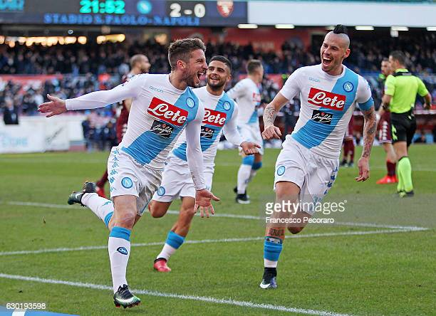 Marek Hamsik and Dries Mertens of SSC Napoli celebrate the 30 goal scored by Dries Mertens during the Serie A match between SSC Napoli and FC Torino...