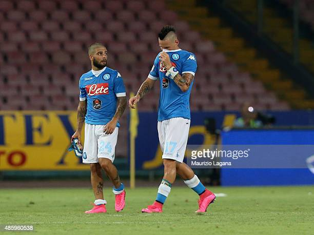 Marek Hamsik and Lorenzo Insigne of Napoli show their dejection during the Serie A match between SSC Napoli and UC Sampdoria at Stadio San Paolo on...