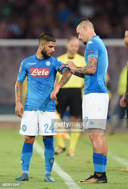 Marek Hamsik and Lorenzo Insigne of SSC Napoli during the UEFA Champions League Qualifying PlayOffs Round First Leg match between SSC Napoli and OGC...