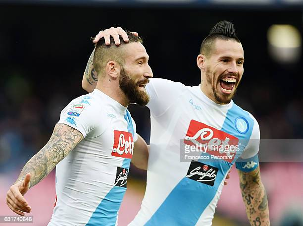 Marek Hamsik and Lorenzo Tonelli of SSC Napoli celebrate the 10 goal scored by Lorenzo Tonelli during the Serie A match between SSC Napoli and...