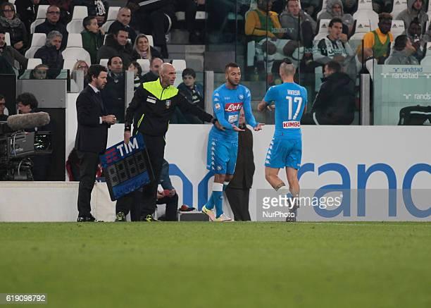 Marek Hamsik and Omar El Kaddouri during Serie A match between Juventus v Napoli in Turin on october 29 2016
