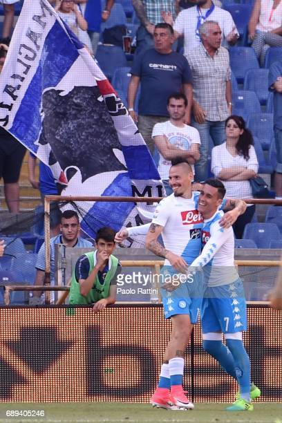 Marek Hamsik celebrates with Jose Maria Callejon after scoring a goal 01 during the Serie A match between UC Sampdoria and SSC Napoli at Stadio Luigi...