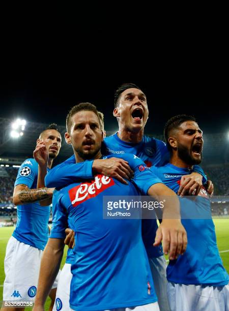 Marek Hamsik Dries Mertens Jose Maria Callejon and Lorenzo Insigne of Napoli celebrating at San Paolo Stadium in Naples Italy on August 16 2017...