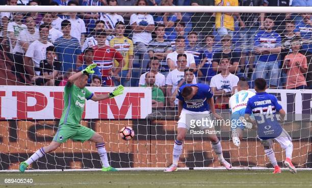 Marek Hamsik goal 03 during the Serie A match between UC Sampdoria and SSC Napoli at Stadio Luigi Ferraris on May 28 2017 in Genoa Italy