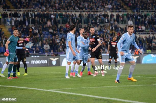 Marek Hamsik Jordan Lukaku during the Italian Serie A football match between SS Lazio and AC Napoli at the Olympic Stadium in Rome on april 09 2017