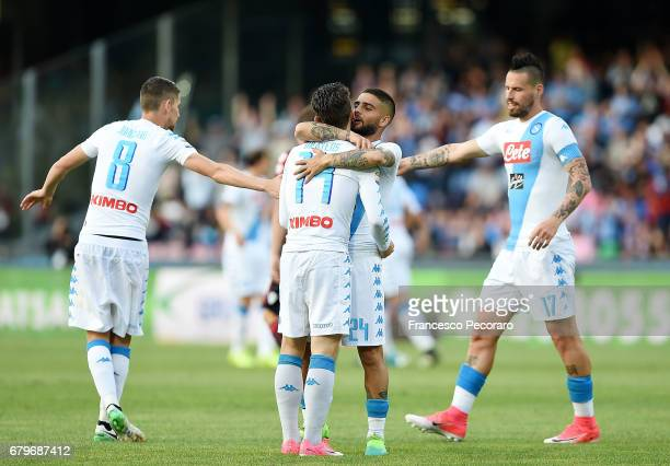 Marek Hamsik Jorginho Lorenzo Insigne and Dries Mertens of SSC Napoli celebrate the 20 goal scored by Dries Mertens during the Serie A match between...