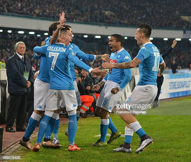 Marek Hamsik Josè Maria Callejon Marques Loureiro Allan and Gonzalo Higuain of Napoli celebrate a goal 10 scored by Gonzalo Higuain during the Serie...