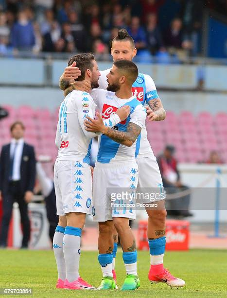 Marek Hamsik Lorenzo Insigne and Dries Mertens of SSC Napoli celebrate the 20 goal scored by Dries Mertens during the Serie A match between SSC...