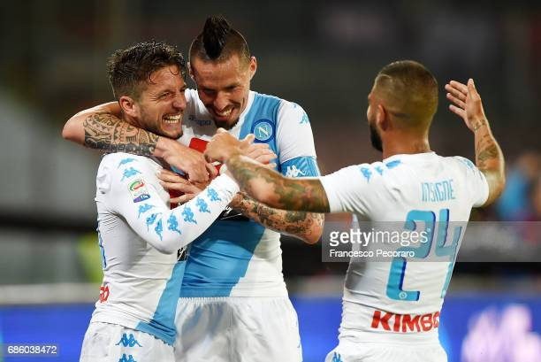Marek Hamsik Lorenzo Insigne and Dries Mertens of SSC Napoli celebrate the 30 goal scored by Dries Mertens during the Serie A match between SSC...