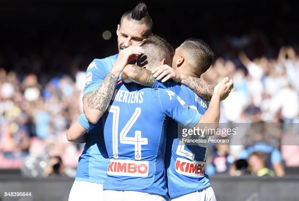 Marek Hamsik Lorenzo Insigne and Dries Mertens of SSC Napoli celebrate the 50 goal scored by Dries Mertens during the Serie A match between SSC...