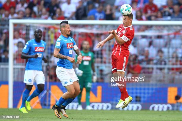 Marek Hamsik of Napoli and Joshua Kimmich of Bayern during the Audi Cup 2017 match between SSC Napoli v FC Bayern Muenchen at Allianz Arena on August...