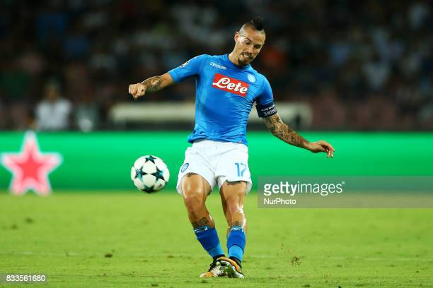 Marek Hamsik of Napoli at San Paolo Stadium in Naples Italy on August 16 2017 during the UEFA Champions League Qualifying PlayOffs Round First Leg...
