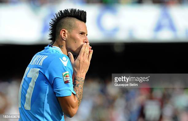 Marek Hamsik of Napoli celebrates after scoring a goal to make it 40 during the Serie A match between SSC Napoli and AS Livorno Calcio at Stadio San...
