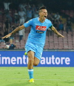 Marek Hamsik of Napoli celebrates after scoring during the Serie A match between SSC Napoli and Bologna at San Paolo Stadium on August 25 2013 in...