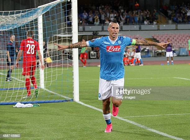 Marek Hamsik of Napoli celebrates after scoring goal 40 during the UEFA Europa League match between Napoli and Club Brugge KV on September 17 2015 in...