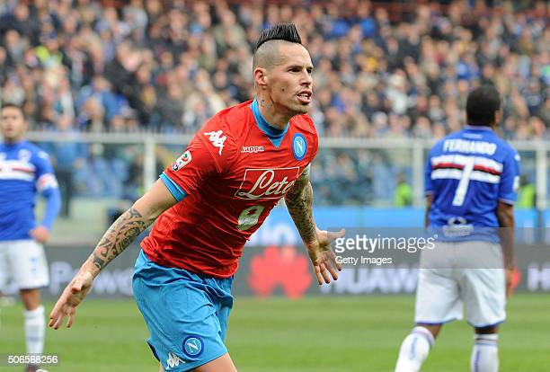 Marek Hamsik of Napoli celebrates after scoring his team third goal during the Serie A match between UC Sampdoria and SSC Napoli at Stadio Luigi...