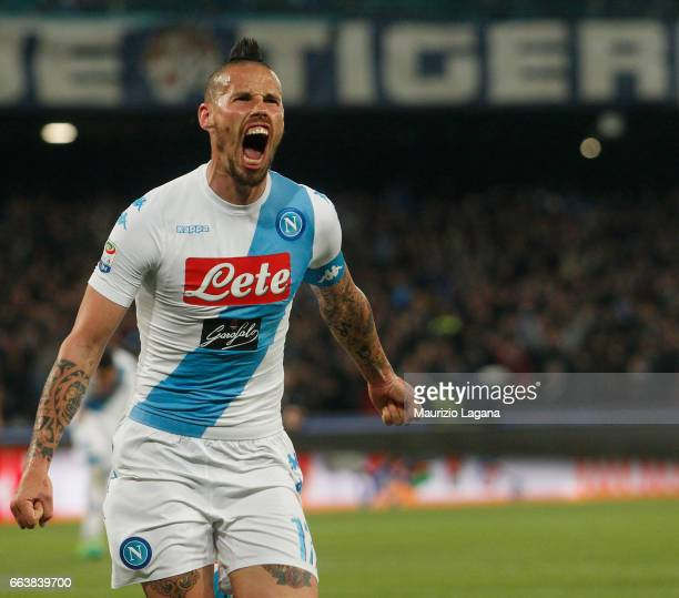 MArek Hamsik of Napoli celebrates after scoring his team's opening goal during the Serie A match between SSC Napoli and Juventus FC at Stadio San...