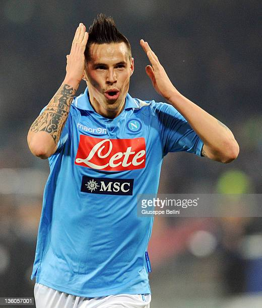 Marek Hamsik of Napoli celebrates after scoring the goal 20 during the Serie A match between SSC Napoli and Genoa CFC at Stadio San Paolo on December...