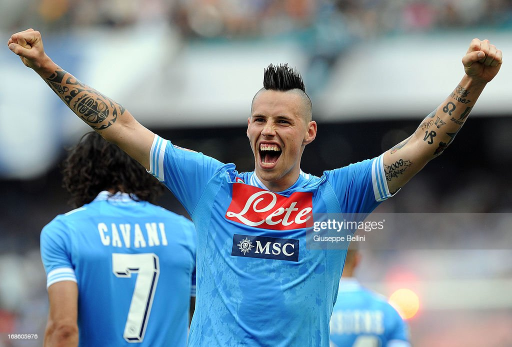 Marek Hamsik of Napoli celebrates after scoring the goal 2-1 during the Serie A match between SSC Napoli and AC Siena at Stadio San Paolo on May 12, 2013 in Naples, Italy.