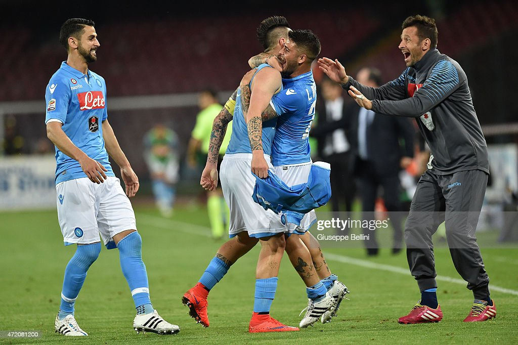 Marek Hamsik of Napoli celebrates after scoring the opening goal during the Serie A match between SSC Napoli and AC Milan at Stadio San Paolo on May 3, 2015 in Naples, Italy.