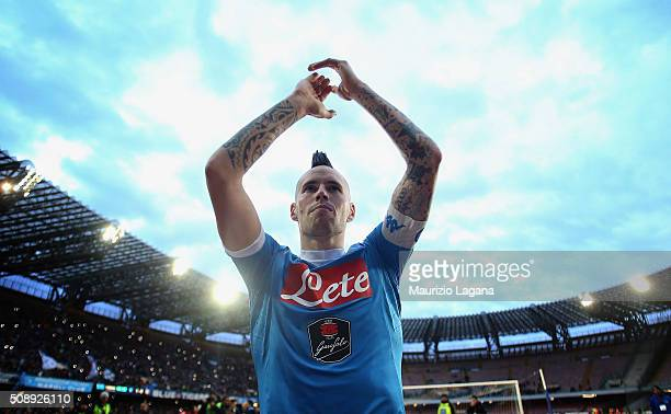 Marek Hamsik of Napoli celebrates after the Serie A match between SSC Napoli and Carpi FC at Stadio San Paolo on February 7 2016 in Naples Italy