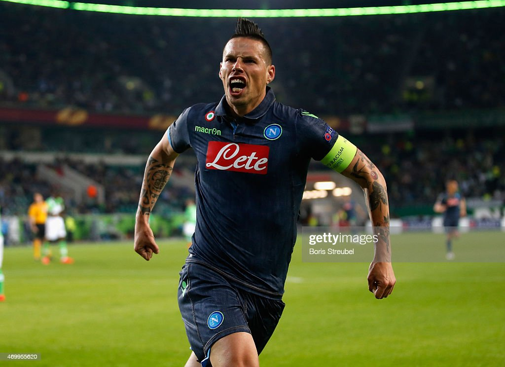 Marek Hamsik of Napoli celebrates as he scores his team's second goal during the UEFA Europa League Quarter Final first leg match between VfL Wolfsburg and SSC Napoli at Volkswagen Arena on April 16, 2015 in Wolfsburg,