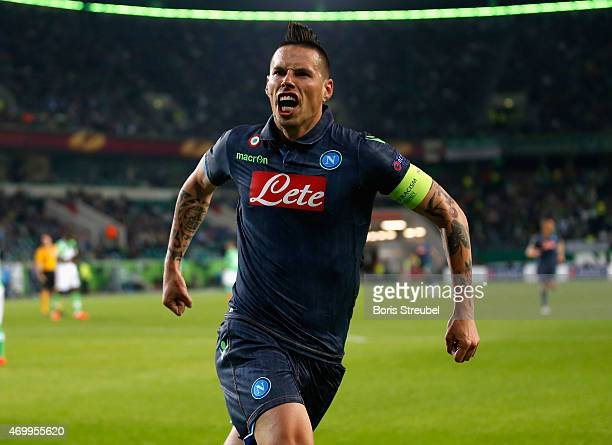 Marek Hamsik of Napoli celebrates as he scores his team's second goal during the UEFA Europa League Quarter Final first leg match between VfL...
