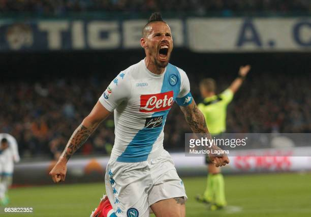 Marek Hamsik of Napoli celebrates the equalizing goal during the Serie A match between SSC Napoli and Juventus FC at Stadio San Paolo on April 2 2017...
