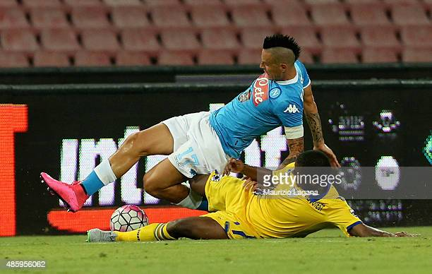 Marek Hamsik of Napoli competes for the ball with Fernando of Sampdoria during the Serie A match between SSC Napoli and UC Sampdoria at Stadio San...