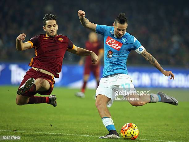 Marek Hamsik of Napoli competes for the ball with Kostas Manolas of Roma during the Serie A match betweeen SSC Napoli and AS Roma at Stadio San Paolo...