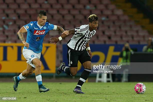 Marek Hamsik of Napoli competes for the ball with Mario Lemina of Juventus during the Serie A match between SSC Napoli and Juventus FC at Stadio San...
