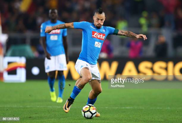 Marek Hamsik of Napoli during the Italian Serie A football match AS Roma vs Napoli at the Olympic Stadium in Rome on October 14 2017
