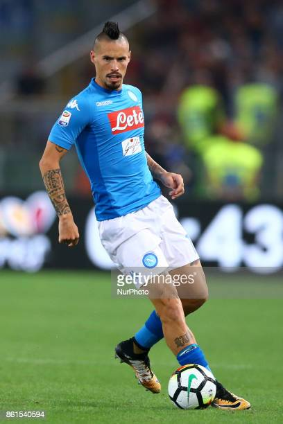Marek Hamsik of Napoli during the Italian Serie A football match Roma vs Napoli at the Olympic Stadium in Rome on October 14 2017