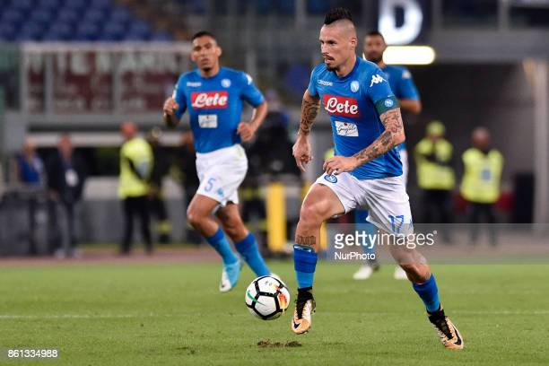 Marek Hamsik of Napoli during the Serie A match between Roma and Napoli at Olympic Stadium Roma Italy on 13 October 2017