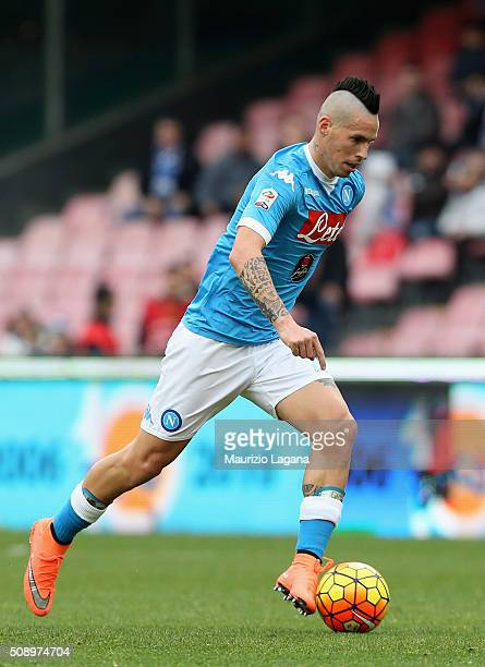 Marek Hamsik of Napoli during the Serie A match between SSC Napoli and Carpi FC at Stadio San Paolo on February 7 2016 in Naples Italy