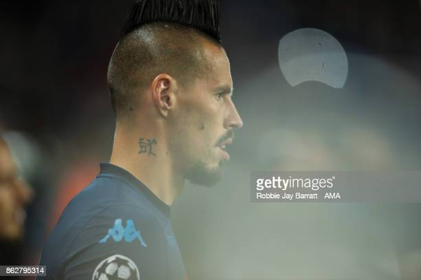 Marek Hamsik of Napoli during the UEFA Champions League group F match between Manchester City and SSC Napoli at Etihad Stadium on October 17 2017 in...
