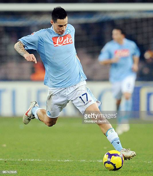 Marek Hamsik of Napoli in action during the Serie A match between SSC Napoli and FC Internazionale Milano at Stadio San Paolo on February 14 2010 in...