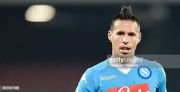 Marek Hamsik of Napoli in action the TIM Cup match between SSC Napoli and Hellas Verona FC at Stadio San Paolo on December 16 2015 in Naples Italy