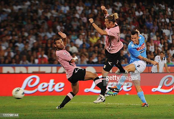Marek Hamsik of Napoli scores the opening goal during the pre season friendly match between SSC Napoli and US Citta di Palermo at Stadio San Paolo on...