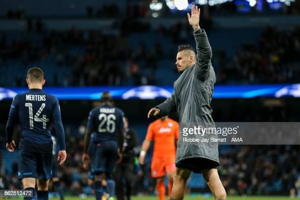 Marek Hamsik of Napoli waves to the fans at full time during the UEFA Champions League group F match between Manchester City and SSC Napoli at Etihad...