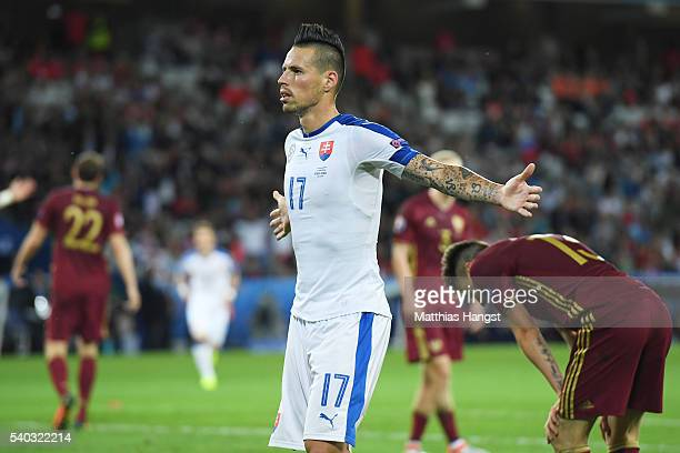Marek Hamsik of Slovakia celebrates scoring his sides second goal during the UEFA EURO 2016 Group B match between Russia and Slovakia at Stade...
