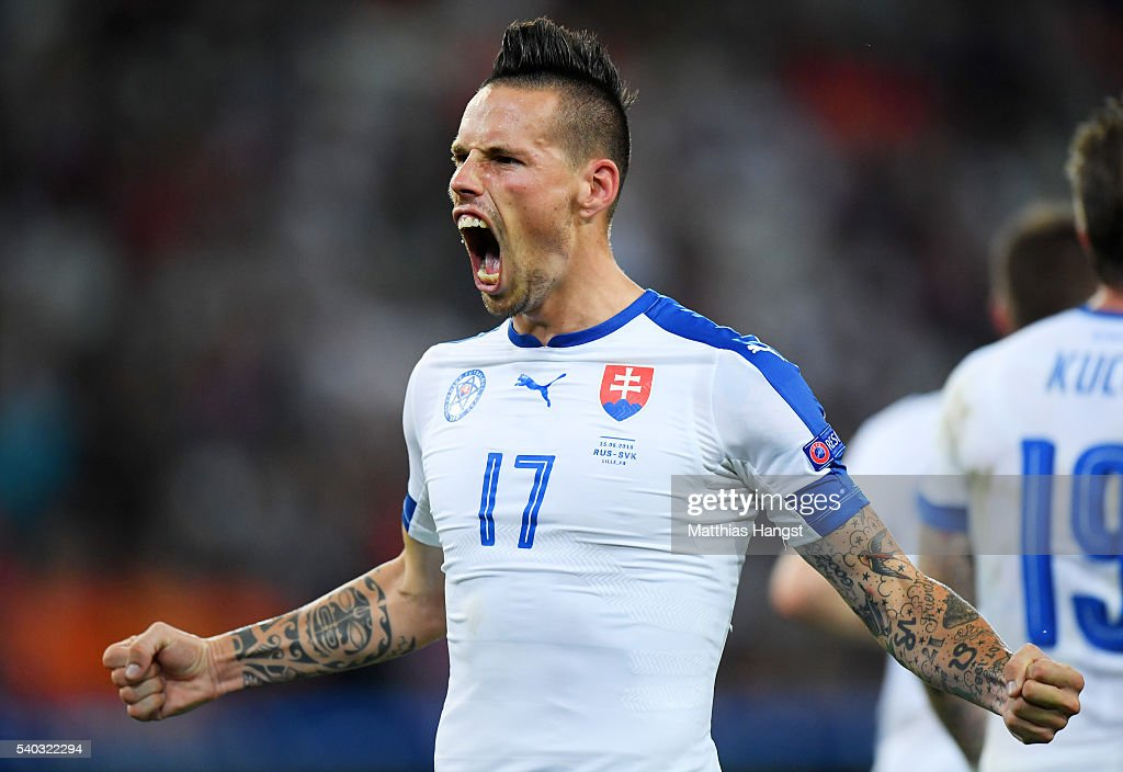 Marek Hamsik of Slovakia celebrates scoring his sides second goal during the UEFA EURO 2016 Group B match between Russia and Slovakia at Stade Pierre-Mauroy on June 15, 2016 in Lille, France.