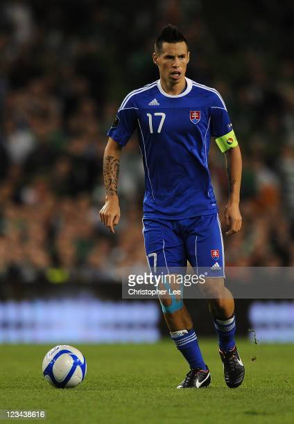 Marek Hamsik of Slovakia during the UEFA EURO 2012 group B Qualifier match between Republic of Ireland and Slovakia at the AVIVA Stadium on September...